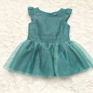 Green babygirl dress sparkly shimmer Christmas